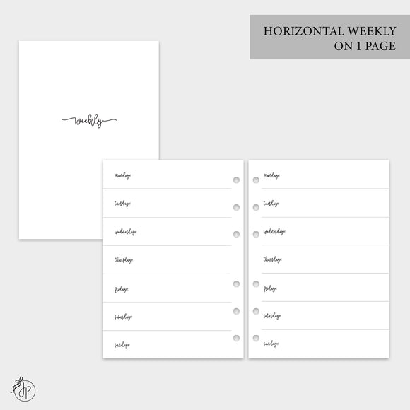 Bow Horizontal Weekly on 1 Page - A5 Rings