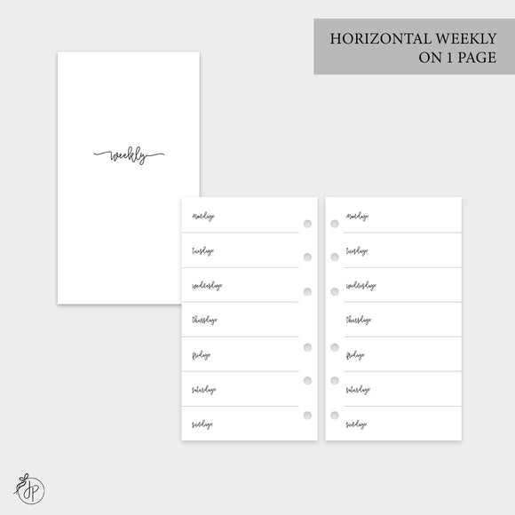 Bow Horizontal Weekly on 1 Page - Personal Rings