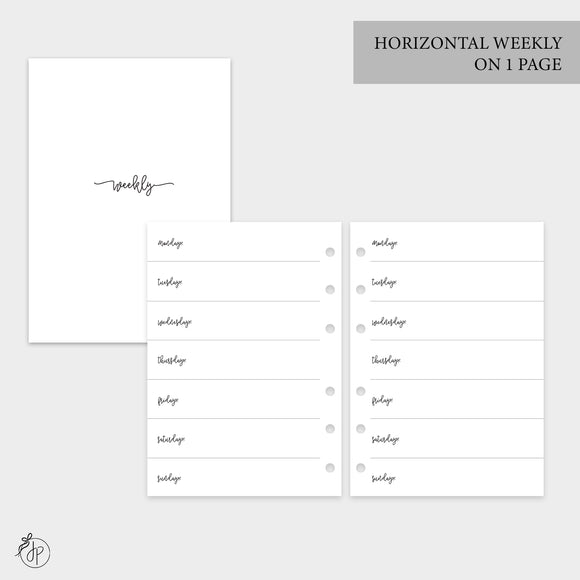 Bow Horizontal Weekly on 1 Page - Personal Wide Rings