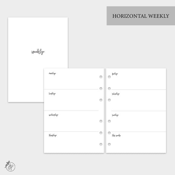 Bow Horizontal Weekly - A5 Rings