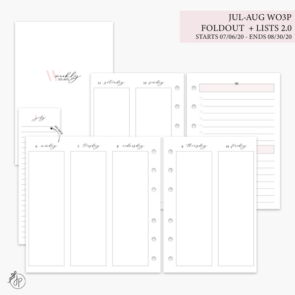 Jul-Aug Wo3P Foldout + Lists 2.0 Pink - A6 Rings