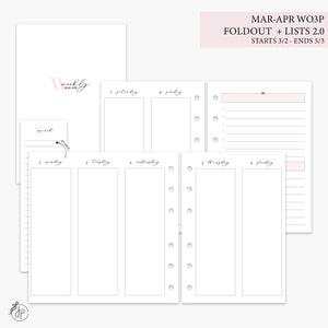 Mar-Apr Wo3P Foldout + Lists 2.0 Pink - A6 Rings