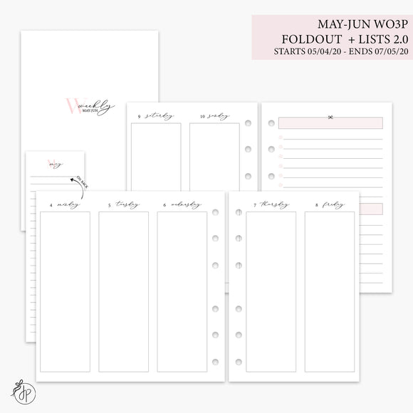 May-Jun Wo3P Foldout + Lists 2.0 Pink - A6 Rings