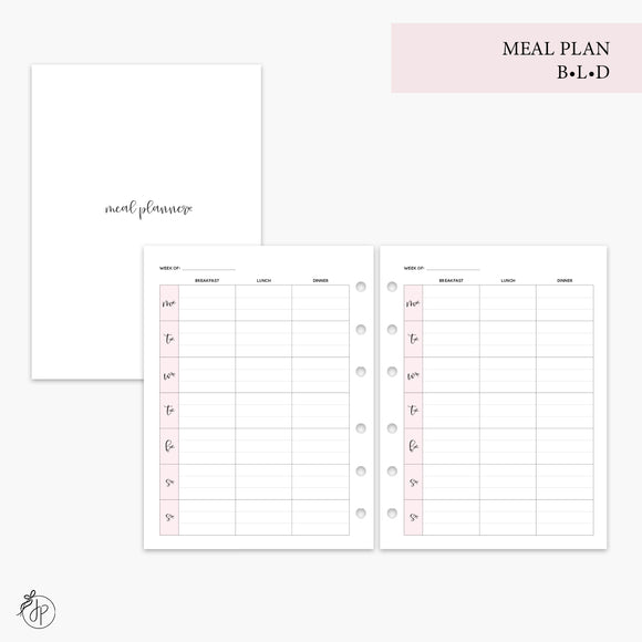 Meal Plan BLD Pink - B6 Rings