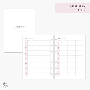 Meal Plan BLD Pink - A5 Rings