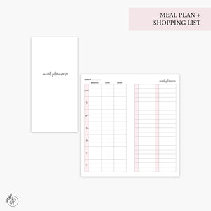 Meal Plan + Shopping List Pink - Hobo TN