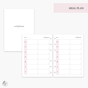 Meal Plan Pink - A5 Rings