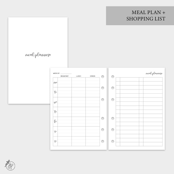 Meal Plan + Shopping List - A6 Rings