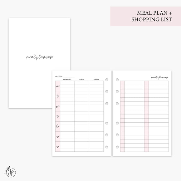 Meal Plan + Shopping List Pink - A6 Rings