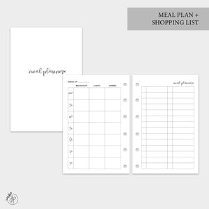 Meal Plan + Shopping List - Pocket Rings