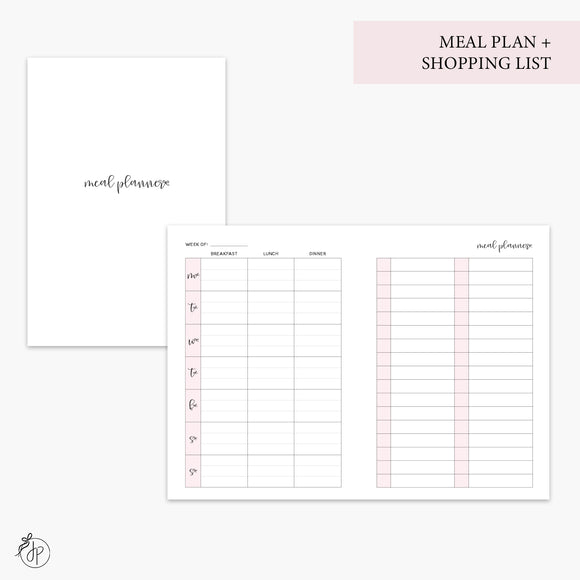Meal Plan + Shopping List Pink - A6 TN
