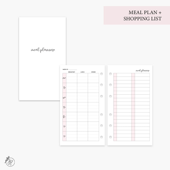 Meal Plan + Shopping List Pink - Personal Rings