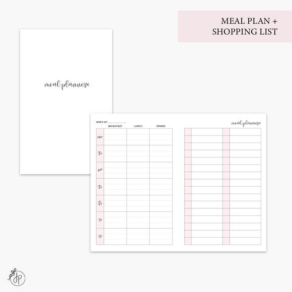 Meal Plan + Shopping List Pink - Pocket TN