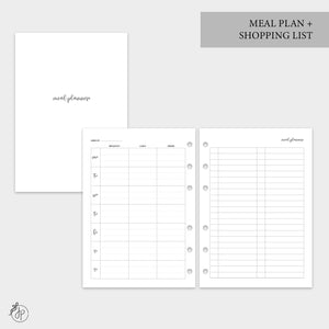 Meal Plan + Shopping List - A5 Rings