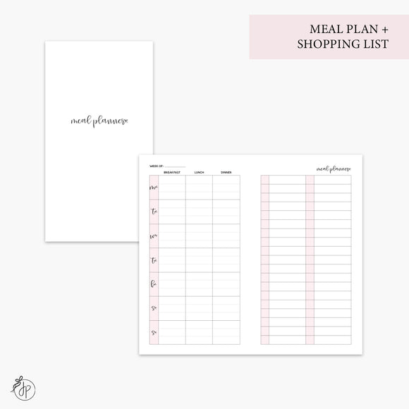 Meal Plan + Shopping List Pink - Personal TN