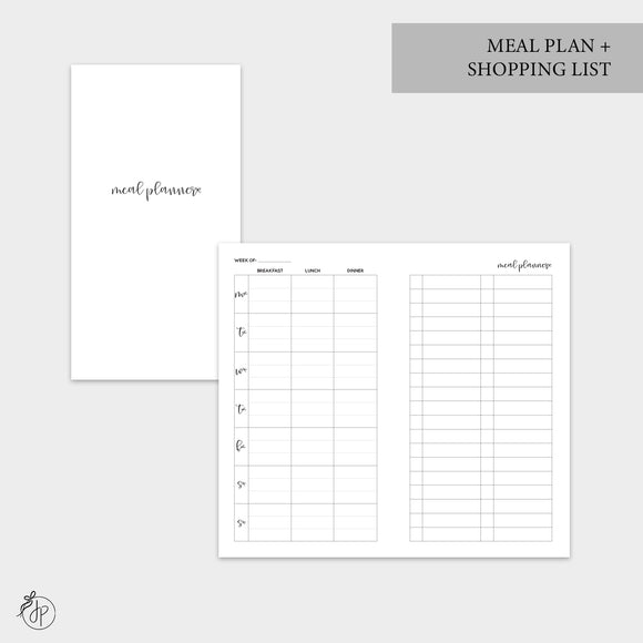 Meal Plan + Shopping List - Personal TN