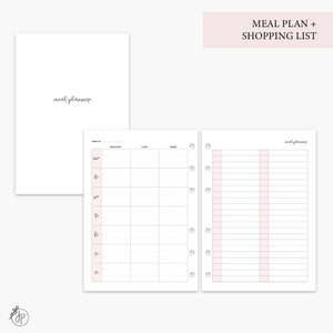 Meal Plan + Shopping List Pink - A5 Rings