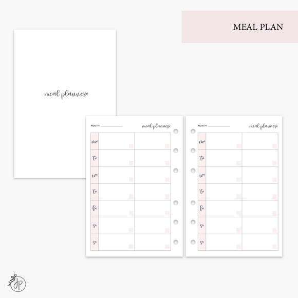 Meal Plan Pink - A6 Rings