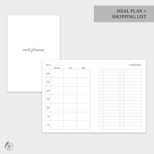Meal Plan + Shopping List - B6 TN