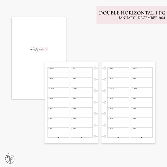 Double Horizontal on 1 Page 2021 Pink - Mini HP Disc