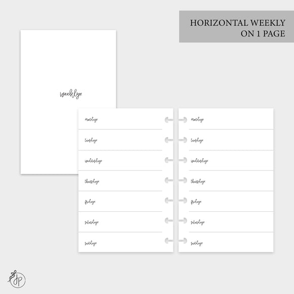 Bow Horizontal Weekly on 1 Page - Mini HP Disc