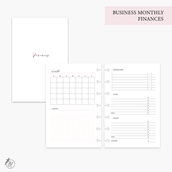 Business Monthly Finances Pink - Mini HP Disc