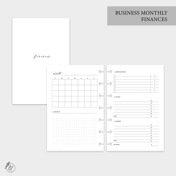 Business Monthly Finances - Mini HP Disc