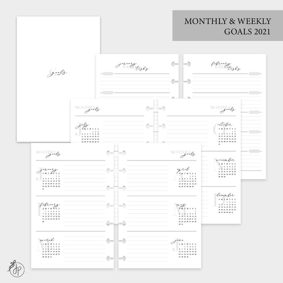 Monthly & Weekly Goals 2021 - Mini HP Disc