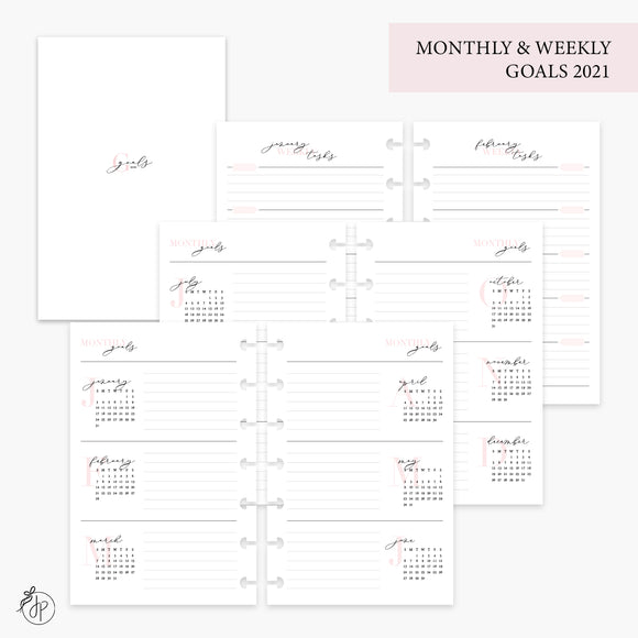 Monthly & Weekly Goals 2021 Pink - Mini HP Disc