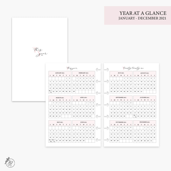 Year at a Glance 2021 Pink - Mini HP Disc