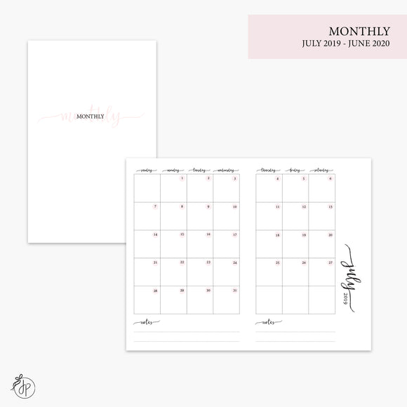Monthly 19/20 Pink - Pocket TN