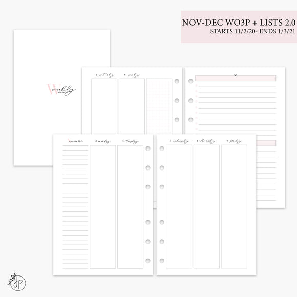 Nov-Dec Wo3P + Lists 2.0 Pink - A5 Rings