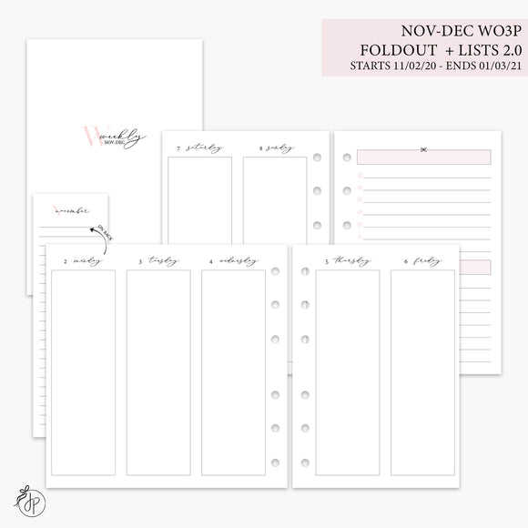 Nov-Dec Wo3P Foldout + Lists 2.0 Pink - A6 Rings