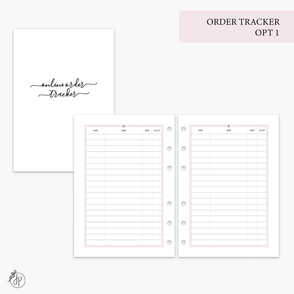 Order Tracker Opt 1 Pink - A5 Rings