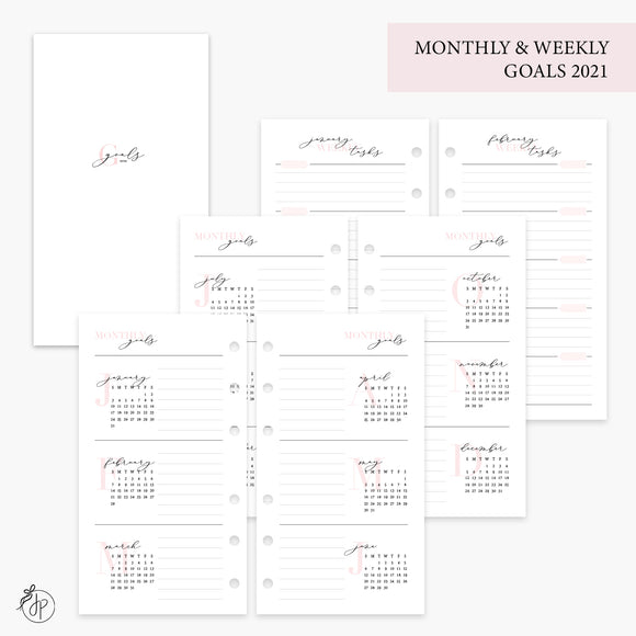 Monthly & Weekly Goals 2021 Pink - Personal Rings
