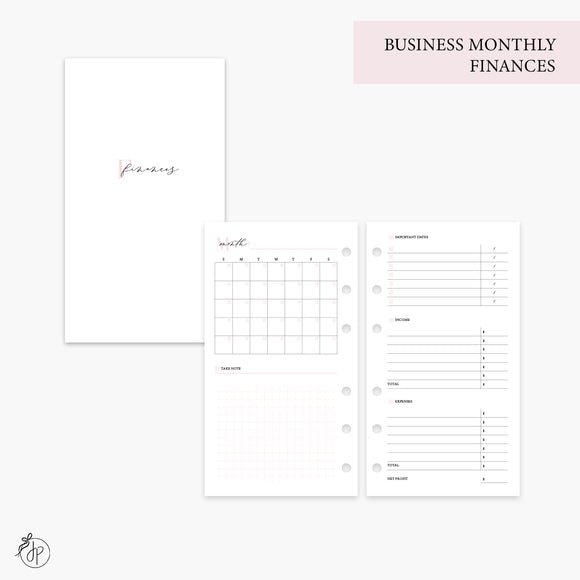 Business Monthly Finances Pink - Personal Rings