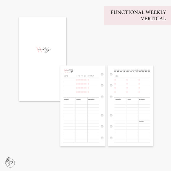 Functional Weekly Vertical Pink - Personal Rings