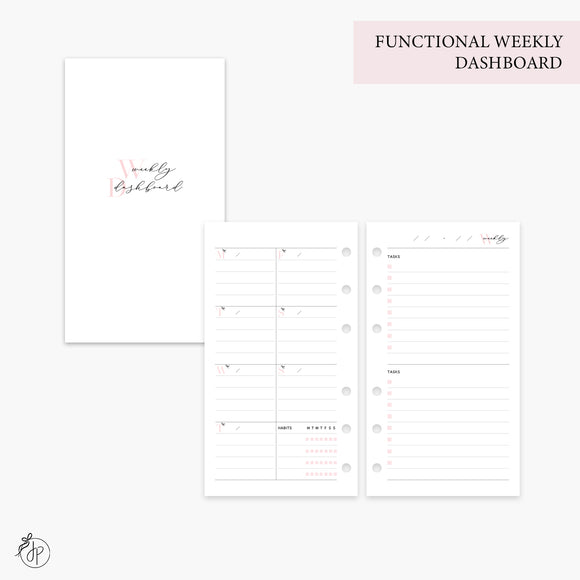 Functional Weekly Dashboard Pink - Personal Rings