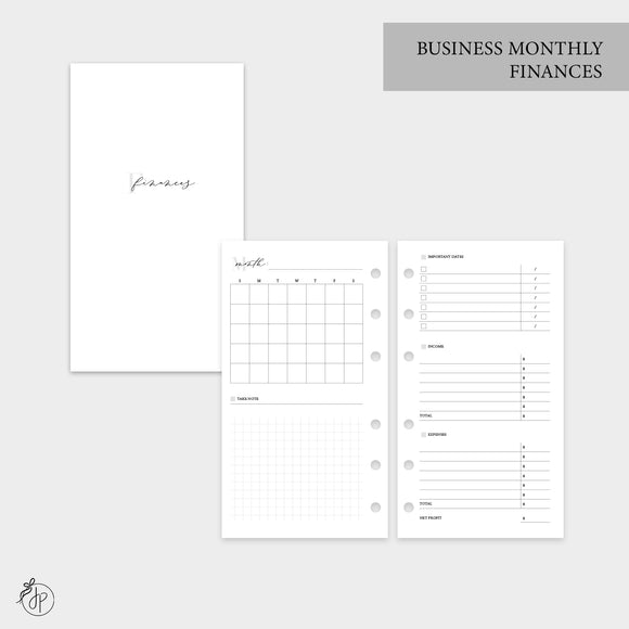 Business Monthly Finances - Personal Rings