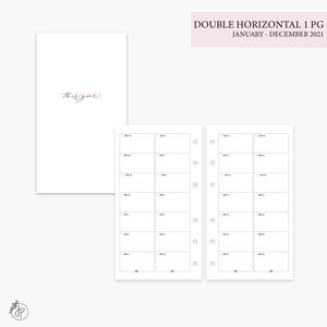 Double Horizontal on 1 Page 2021 Pink - Personal Rings