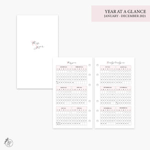 Year at a Glance 2021 Pink - Personal Rings
