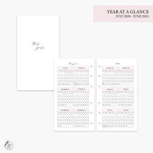 Year at a Glance 20/21 Pink - Personal Rings