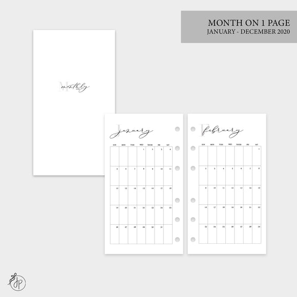 Month on 1 Page 2020 - Personal Rings