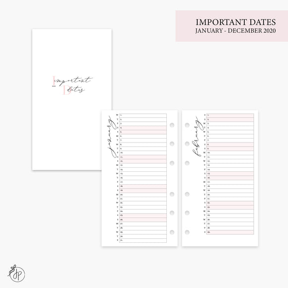 Important Dates 2020 Pink - Personal Rings