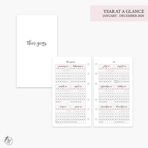 Year at a Glance 2020 Pink - Personal Rings