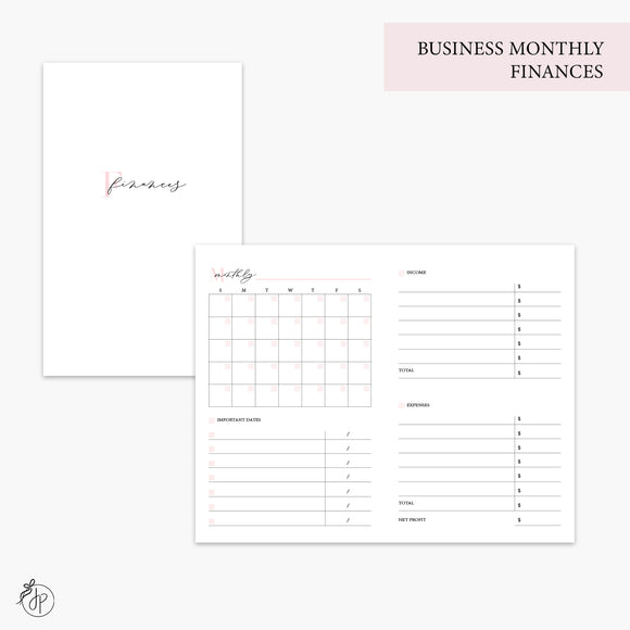 Business Monthly Finances Pink - Pocket TN