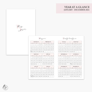 Year at a Glance 2021 Pink - Pocket TN