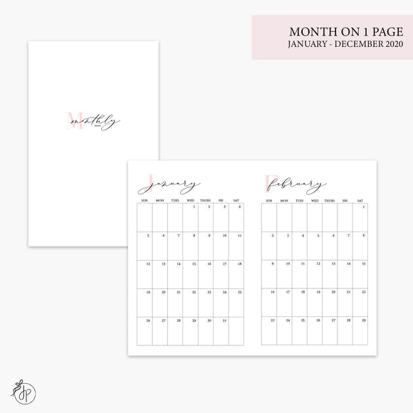 Month on 1 Page 2020 Pink - Pocket TN