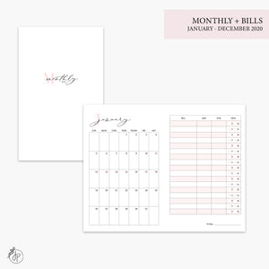 Monthly + Bills 2020 Pink - Pocket TN