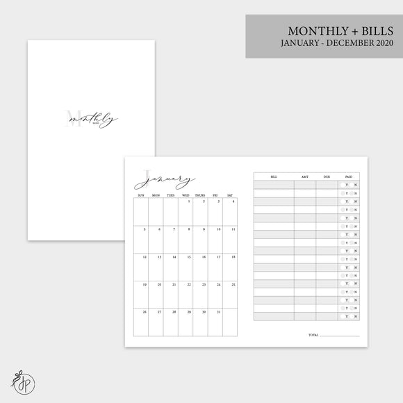 Monthly + Bills 2020 - Pocket TN